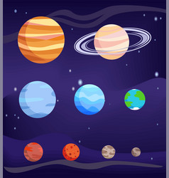 planet set bodies poster vector image