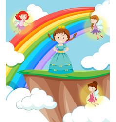 princess with fairies scene vector image