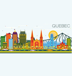 Quebec canada skyline with color buildings and vector