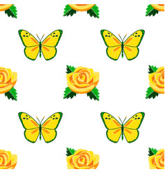 roses and butterflies embroidery seamless pattern vector image