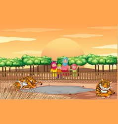 Scene with people and tigers at zoo vector