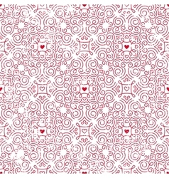 Seamless pattern with hearts inred vector image