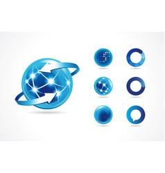 set 7 sphere globe logo vector image