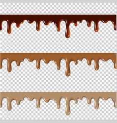 Set of melted chocolatepeanut buttercaramel vector