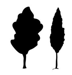 silhouette poplar icon tree flora vector image