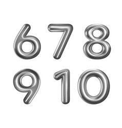 Silver number balloons 6-10 vector