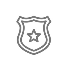 simple police office badge line icon symbol vector image