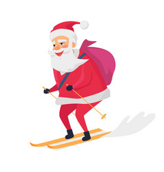 Skiing happy santa clous on white background vector