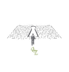 solution searching man finding exit in labyrinth vector image