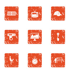 Sport conquest icons set grunge style vector