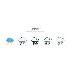 Stormy icon in different style two colored and vector
