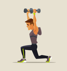 Strong sport man character doing lifting exercises vector