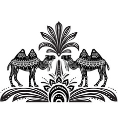 Stylized figures of decorative camels vector