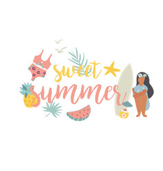 summer beach poster with pretty girl and sea kit vector image