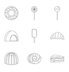sweets icon set outline style vector image