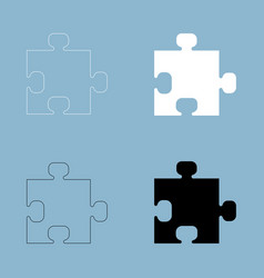 The puzzle the black and white color icon vector
