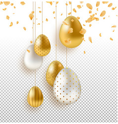 transparent easter egg and flower background vector image