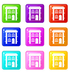 Two-storey residential house icons 9 set vector