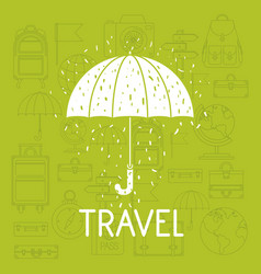umbrella with travel set icons vector image