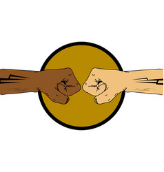 Unite colours double fist hand drawn vector