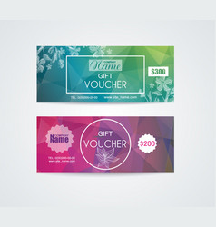 Voucher template with floral design vector