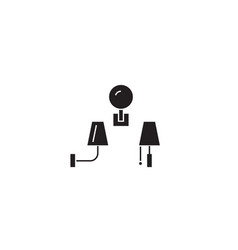 wall lamps black concept icon wall lamps vector image