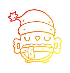 Warm gradient line drawing cute christmas owl vector
