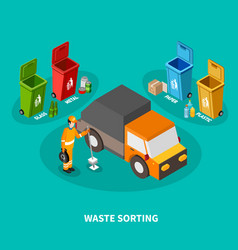 waste sorting isometric composition vector image