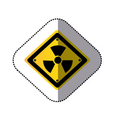 Yellow metal emblem warning radiation sign vector