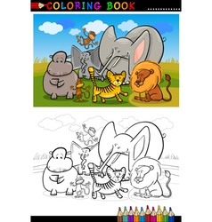 african wild animals cartoon for coloring book vector image vector image