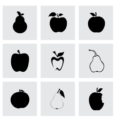 black apple and pear icons set vector image