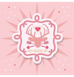 Happy Valentines Day pink hipster dear emblem vector image