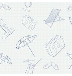 Summer Holiday Hand Drawn Seamless Pattern vector image vector image