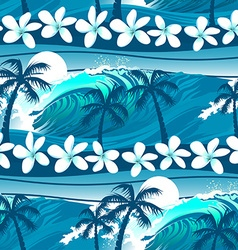 Blue tropical surfing with palm trees seamless vector image vector image