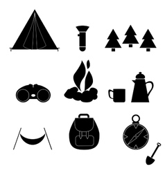 Camp Icon Silhouette Nature Symbol Equipment vector image vector image
