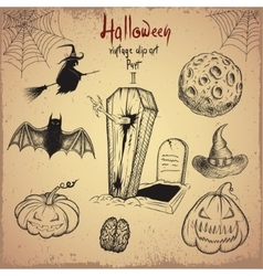 Collection of scary objects for Halloween design vector image vector image