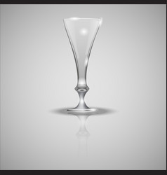empty glass cup on mirror vector image vector image