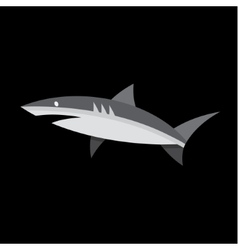 Flat Shark on a dark background of quality logo vector image vector image