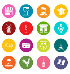 france travel icons many colors set vector image vector image