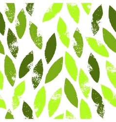 Fresh green leaves grunge seamless pattern vector image