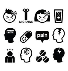 Headache migraine - medical icons set vector image