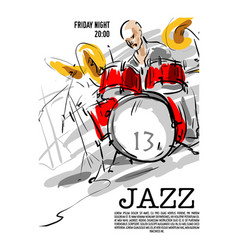 jazz music party invitation design vector image vector image