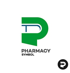 Letter p pharmacy medicine logo with medicament vector