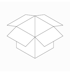 Opened cardboard box icon isometric 3d style vector image vector image
