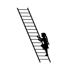 silhouette girl up climbing stair vector image