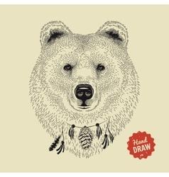 Sketch of a bear face bear head front vector