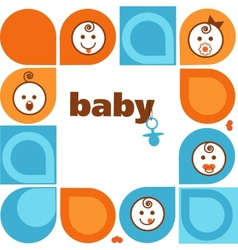 vintage frame with smiling baby faces vector image vector image