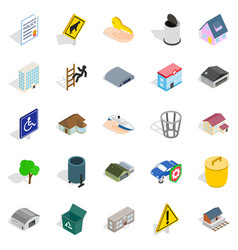city buildings icons set isometric style vector image vector image
