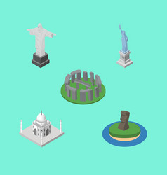 isometric architecture set of chile rio new york vector image vector image