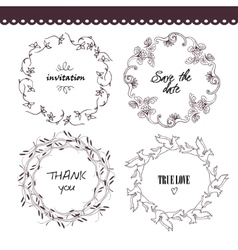 The set of hand drawn circular decorative vector image vector image